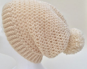 Crochet Slouch Hat, Crochet Slouch Beanie, Ladies Hat, Ladies Slouch Hat, Ladies Crochet Hat, Pompom hat, Bobble Hat, Crochet Bobble Hat