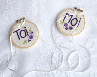 "Door-alliances embroidered on drum / door-alliances ""you and me"" / Purple door-alliances"
