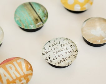 Glass dome magnet set, Refrigerator magnets, Round marble magnets, Colorful magnets, Housewarming gift
