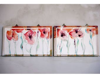 Two small original red blossom paintings mounted