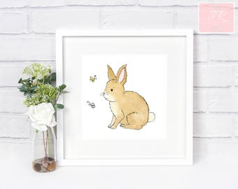 Cute rabbit art print, woodland animals, baby's nursery, childrens room, neutral modern, watercolour painting, Baby gift, nursery wall decor