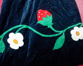 Vintage Handmade Corduroy Skirt Strawberry Embroidery