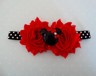 Minnie inspired Headband, Black and White Polka Dot, Shabby Flower, Baby Headband, Red Headband