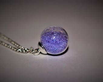 Glitter Globe Necklace - PURPLE