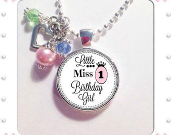LITTLE MISS BIRTHDAY Girl, Any Age,Age 1, age 2, age 3, age 4, age 5, age 6, Birthday pendant for little girls, Birthday Girl charm pendant