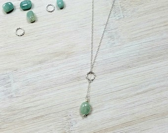 Aquamarine & Sterling Drop Necklace