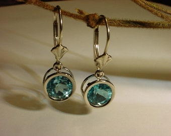 Blue Topaz 14k dangle earrings