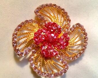 Large Vintage 1960s Pink Rhinestone Flower Brooch