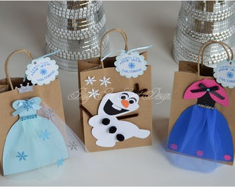 Frozen Party Favor Bags Queen Elsa Princess Anna Olaf Theme