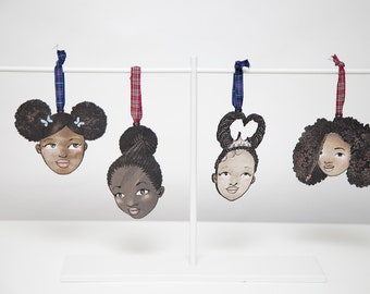 Annika & Amélie  Set of 4 Little Black Girls, Oak Veneer Tags, Wall Art