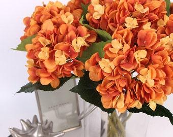 "Luxury Silk Hydrangea Stem in Orange 18"" Tall"