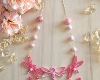 Necklace Pink and Fuchsia with Dragonflies in Flight