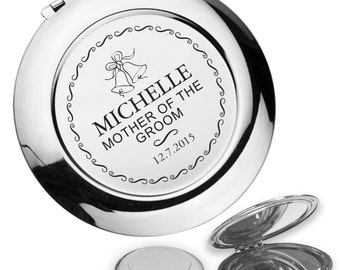 Personalised engraved MOTHER OF the GROOM compact mirror wedding thank you gift idea, handbag mirror - BL7