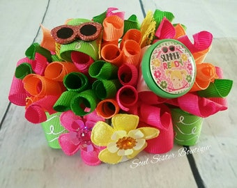 Summer Ready funky loopy hair bow pink orange yellow apple green flowers ott over the top sunglasses sun glasses