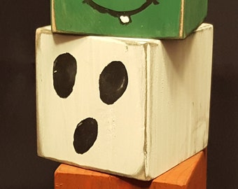 Handmade Rustic Dual Sided Painted Stacking Blocks Halloween Decoration