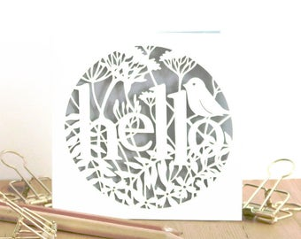 Hello, Hi, Just to say, Bird lover, Mini card. Miniature Papercut card, Lasercut card, Hello card, Hello greeting, Papercutting card