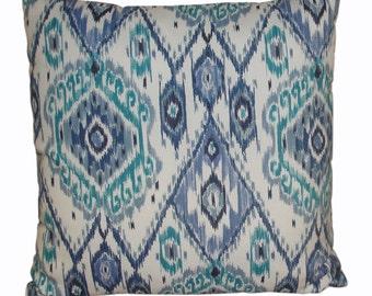 Aqua & Navy Print Pillow Covers / Throw Pillow Covers / Print Pillow Covers / Indoor, Outdoor Throw Pillow Covers / Decorative Pillow Covers