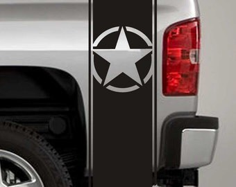 Truck Bed Stripe Decals - Army Star Stickers - Universal Fit (Pair x2)