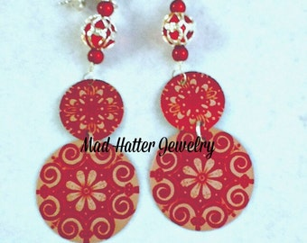 Red Etched Aluminum Earrings