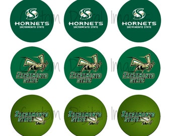 "INSTANT DOWNLOAD Sacramento State Hornets Bottle Cap Image Sheet | Digital Image Sheet | 4""x6"" Sheet with 15 Images"