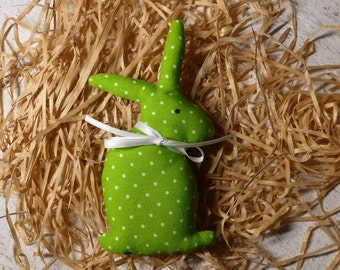 Bunny made of green cotton fabric for the Easter decor