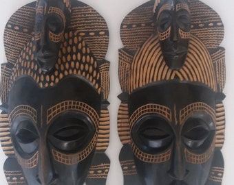 Pair of Angolan tribal mask.