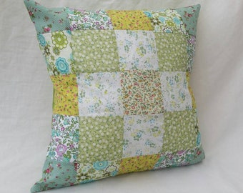 "Green 16"" Patchwork Cushion"