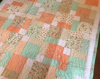Peach and Aqua Patchwork Quilt by Dalgleish Cloth Works