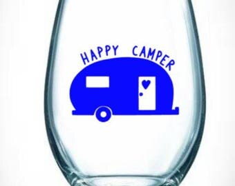 happy/camper/camping/drinking/wine/bonfire/rv/camper/glass/pull behind/heart/love/