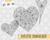 Heart Mandala (set of 7) Digital Files - SVG PNG DXF - Digital Download, Vector Cut File, Paper cutting - Coloring Page - Zentangle cut file