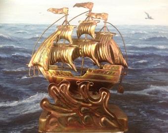 Vintage Metal Sailboat Music Box by Chinese Craftsmen