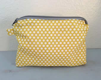 Yellow dot pouch, wet bags, baby bag, diaper bag, beach bag, pouch, wipe pouch, small pouch, diaper pouch