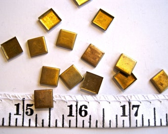 Tiny Squares-Vintage Metal Findings-Jewelry, Crafts Supply- raw brass-1 lot (24 pcs)