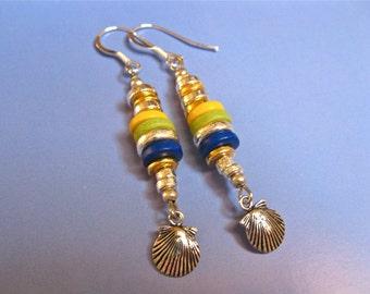 Camino de Santiago scallop shell silver charm earrings