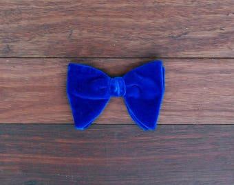 1970's Royal Blue Velvet Bow Tie