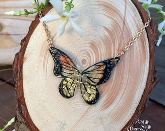 Gold Leaf Butterfly Wing Necklace // Shrink Plastic
