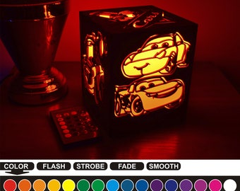 Cars color led nightlight Color led lamp Wood night light Cars Housewarming gift Home decor Night light box Birthday gift Bedroom decor