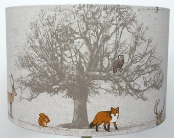 Fryetts Woodland Tree , Stag and Fox Lampshade , Table Lamp , Pendant Shade