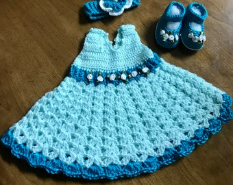 Mint color baby girl dress