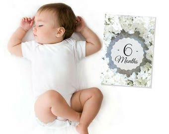 Monthly baby photos - Baby girl - Baby photos - Baby's 1st - Photo prop - Pregnancy gift - Baby shower gift - 5x7 Printable cards.