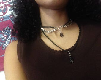 Layered Purple Pendant Silver Chain Choker