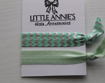 Aqua Mint + Silver Creasless Hair Ties | Boho Hair Tie Bracelets