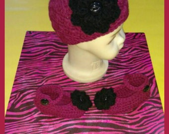 Crochet Baby Girl Hat and Mary Jane Shoe Set, Crochet Baby Flower Hat, Crochet Mary Jane Shoes, Crochet Baby Hat, Crochet Baby Shoes