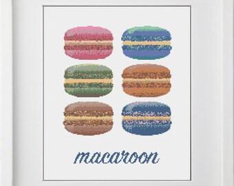 BOGO free, macaroon cross stitch pattern, PDF pattern, instant download, REF 132/macaroon