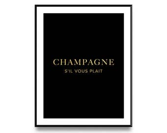 Champagne Print, Champagne Art, Champagne Poster, Printable Art, Fashion Print, Scandinavian Print, Affiche Scandinave, Nordic Poster