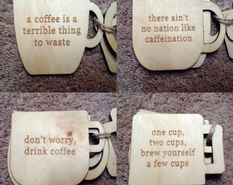 Coffee themed coaster sets