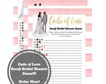 Wedding Emoji Bridal Shower Game - African American Bridal Shower Game Download - 5 x 7 Guess the Emoji -Instant Printable - Pink