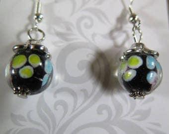 Black with yellow beaded dangling earrings