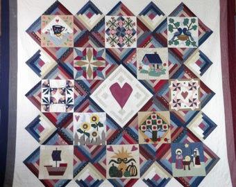 """1996 Piecemaker's Calendar sampler quilt, 101""""x101"""" (queen/king)"""