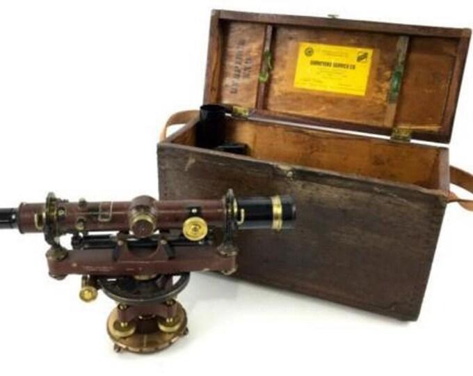 Wonderful Vintage Surveyors Transit in Original Wooden Box